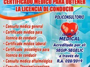 Certificado Médico para trámite de Licencia de Conducir Autorizado por SEGIP